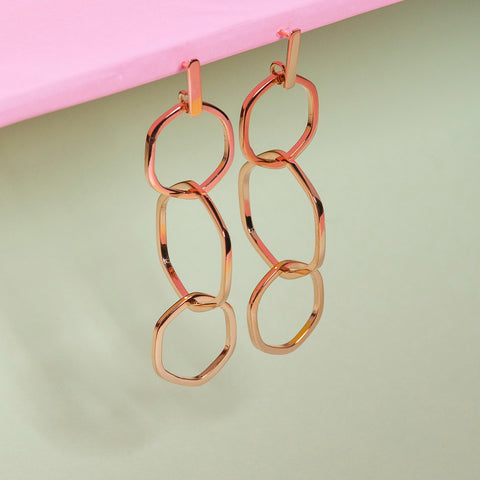ROSE GOLD TRIPLE HEXAGON CHAIN EARRINGS