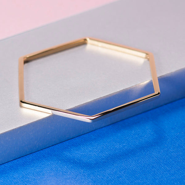 GOLD HEXAGON BANGLE