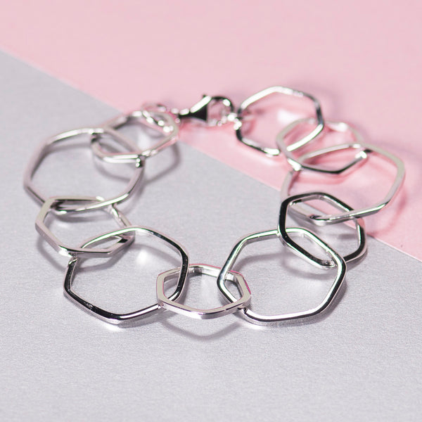 SILVER HEXAGON CHAIN BRACELET