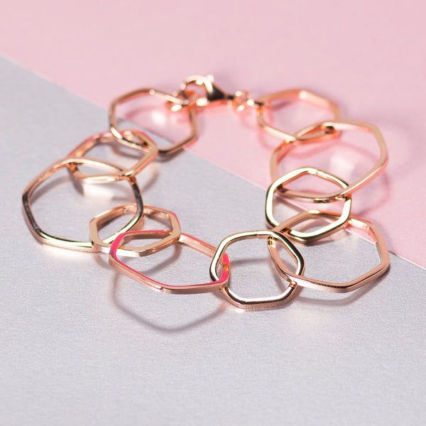 ROSE GOLD HEXAGON CHAIN BRACELET