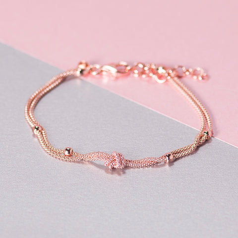 ROSE GOLD DOUBLE KNOT AND BALL BRACELET