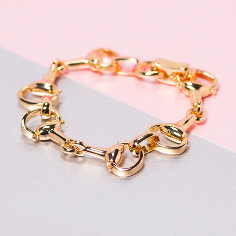 GOLD STIRRUP CHAIN BRACELET