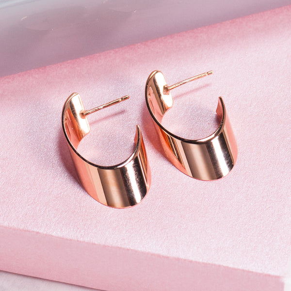 ROSE GOLD OVAL FLAT HOOP EARRINGS