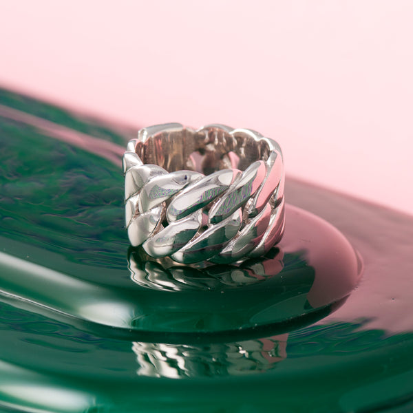 SILVER CHUNKY CHAIN RING