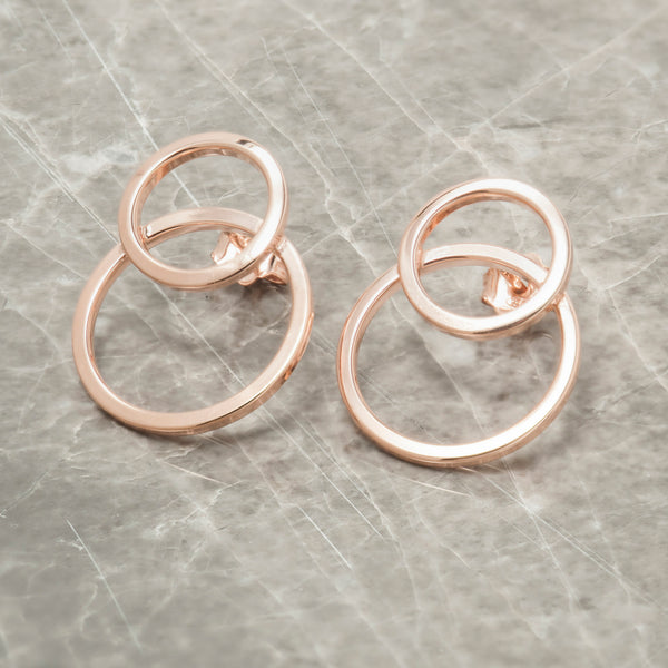 ROSE GOLD DOUBLE CIRCLE EARRINGS