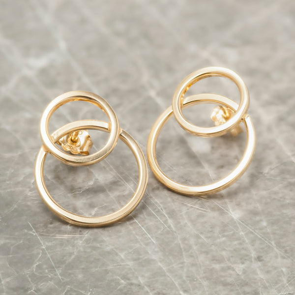 SILVER DOUBLE CIRCLE EARRINGS