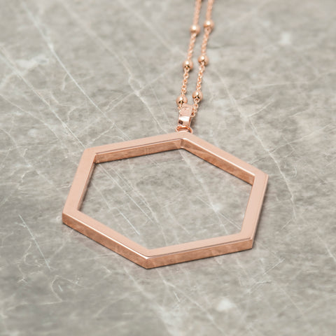ROSE GOLD HEXAGON PENDANT