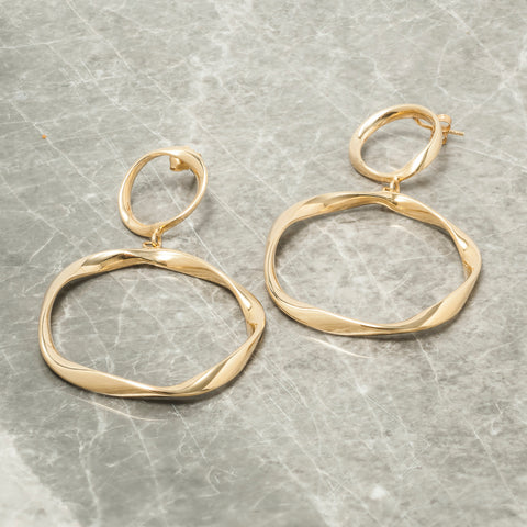 GOLD TWISTED DOUBLE HOOP EARRINGS