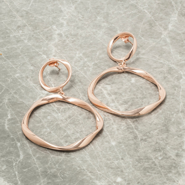ROSE GOLD TWISTED DOUBLE HOOP EARRINGS