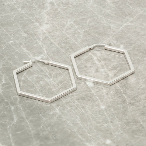 SILVER HEXAGON HOOP EARRINGS