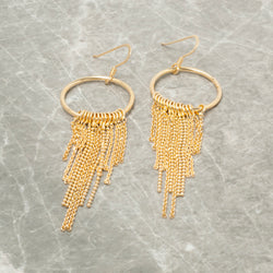 GOLD CIRCLE AND TASSEL DROP EARRINGS