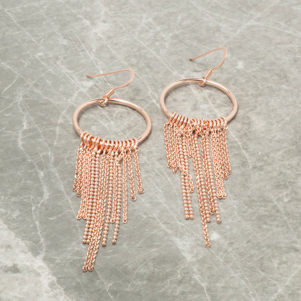ROSE GOLD CIRCLE AND TASSEL DROP EARRINGS