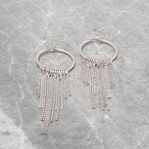 SILVER CIRCLE AND TASSEL DROP EARRINGS
