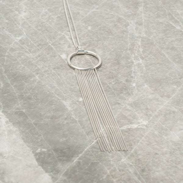 SILVER HOOP AND TASSEL CHAIN PENDANT
