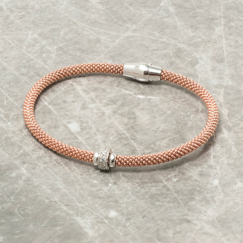 DIAMOND CUT ROSE GOLD BRACELET WITH ZIRCON RING
