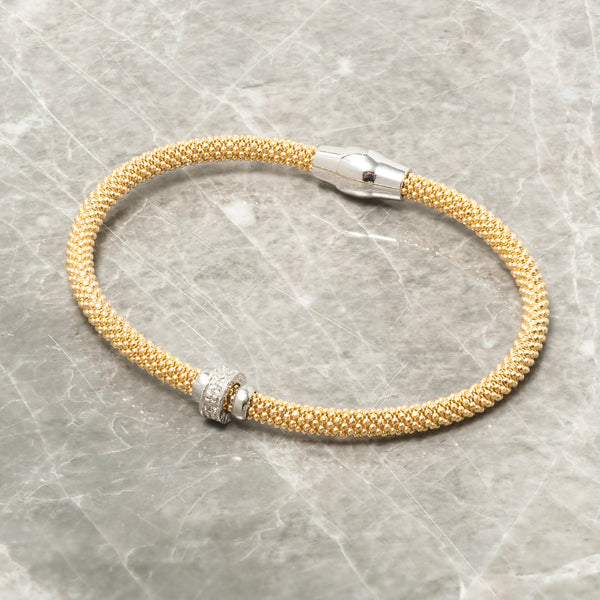 DIAMOND CUT GOLD BRACELET WITH ZIRCON RING