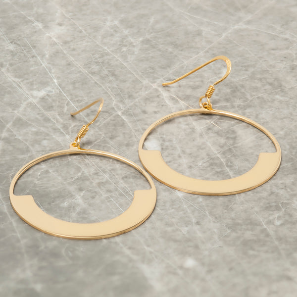 GOLD HALF MOON CIRCLE EARRINGS