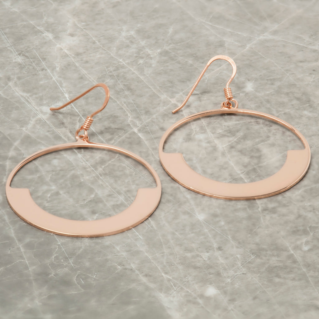Chandelier earrings handmade jewellery from loel co rose gold half moon circle earrings arubaitofo Image collections