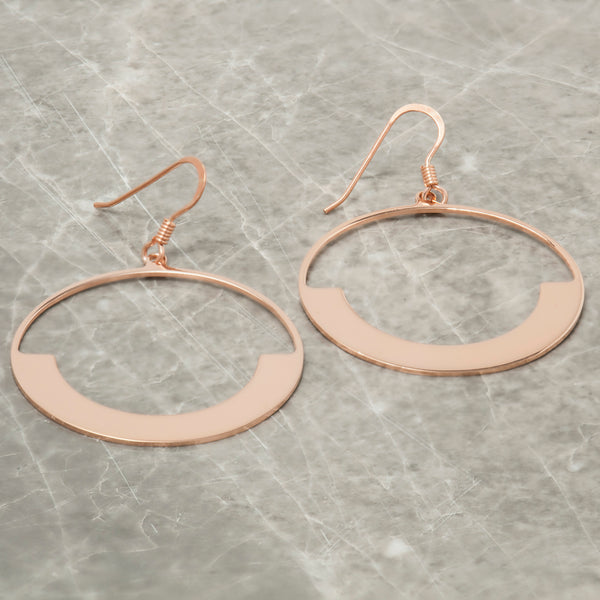 ROSE GOLD HALF MOON CIRCLE EARRINGS