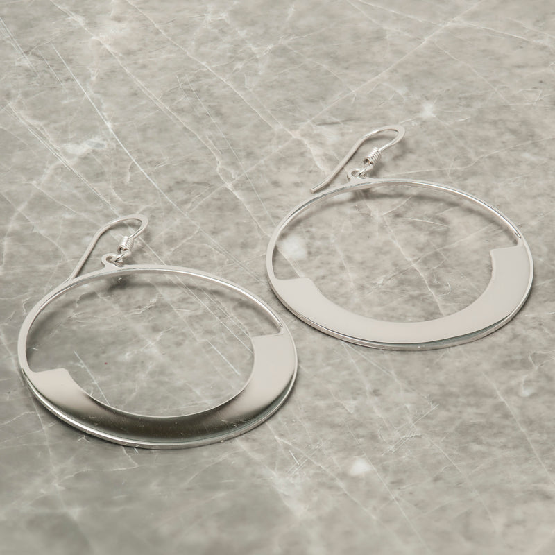 SILVER HALF MOON CIRCLE EARRINGS