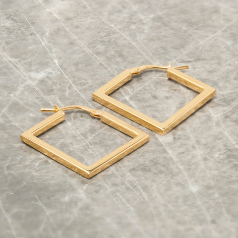 GOLD SQUARE HOOP EARRINGS
