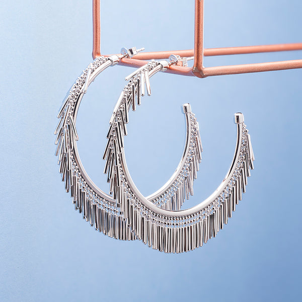 LARGE SILVER TASSEL HOOP EARRINGS