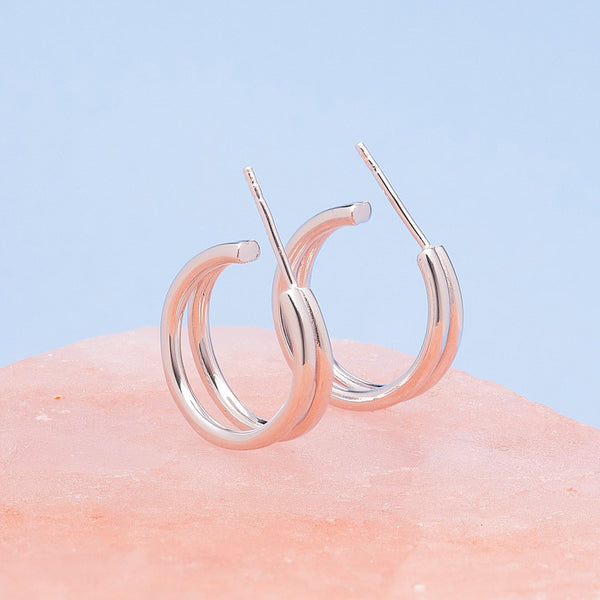 SILVER PARALLEL HOOP EARRINGS
