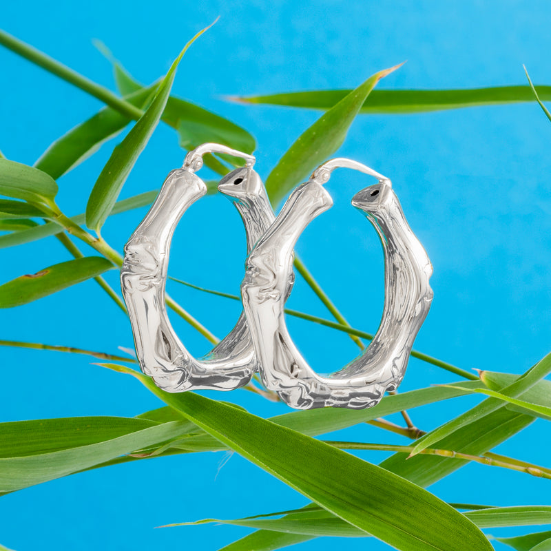 SILVER BAMBOO HOOP EARRINGS