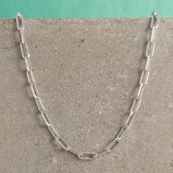 SILVER LONG LINK CHAIN NECKLACE