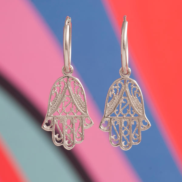 HAMSA HAND LACE CHARM EARRINGS