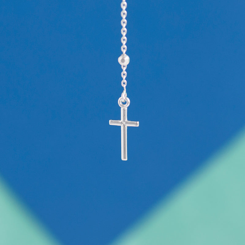 SILVER ROSARY LARIAT NECKLACE