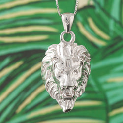 SILVER LION HEAD PENDANT