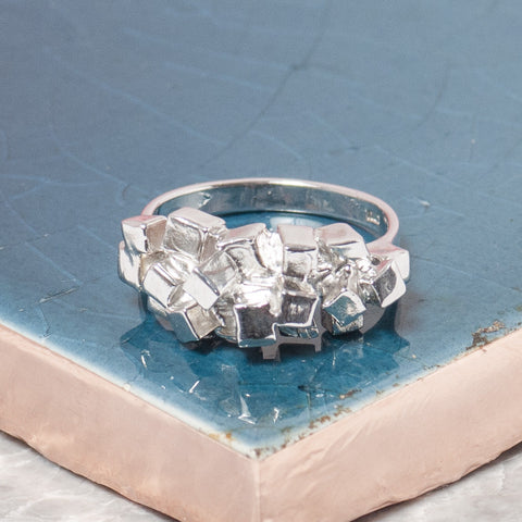 SILVER CUBES RING
