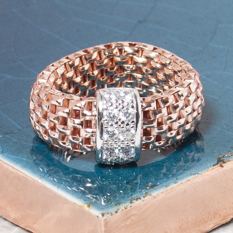 ROSE GOLD FLEXI RING WITH ZIRCONS