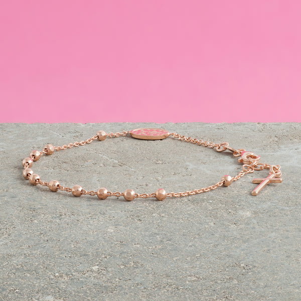 ROSE GOLD ROSARY BEAD BRACELET