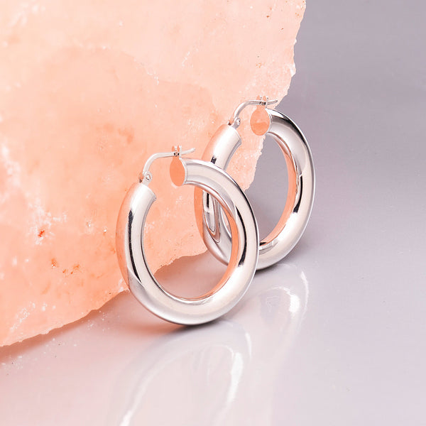 THICK SILVER HOOP EARRINGS