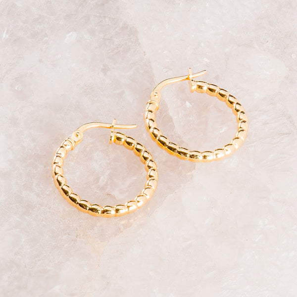 SMALL GOLD BEADED HOOP EARRINGS