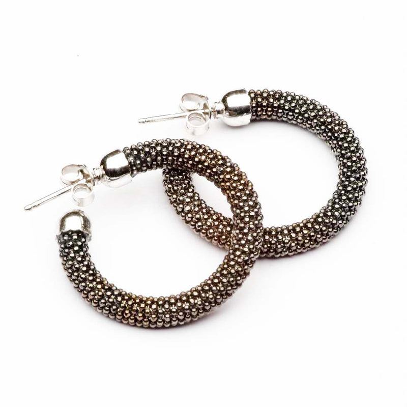 SMALL DIAMOND CUT BLACK HOOP EARRINGS