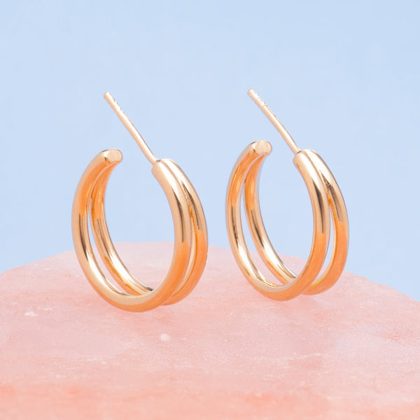 GOLD PARALLEL HOOP EARRINGS