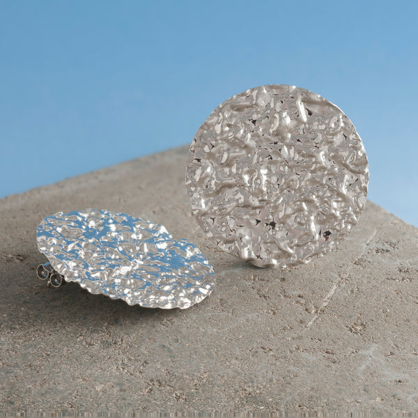 LARGE SILVER HAMMERED DISC EARRINGS