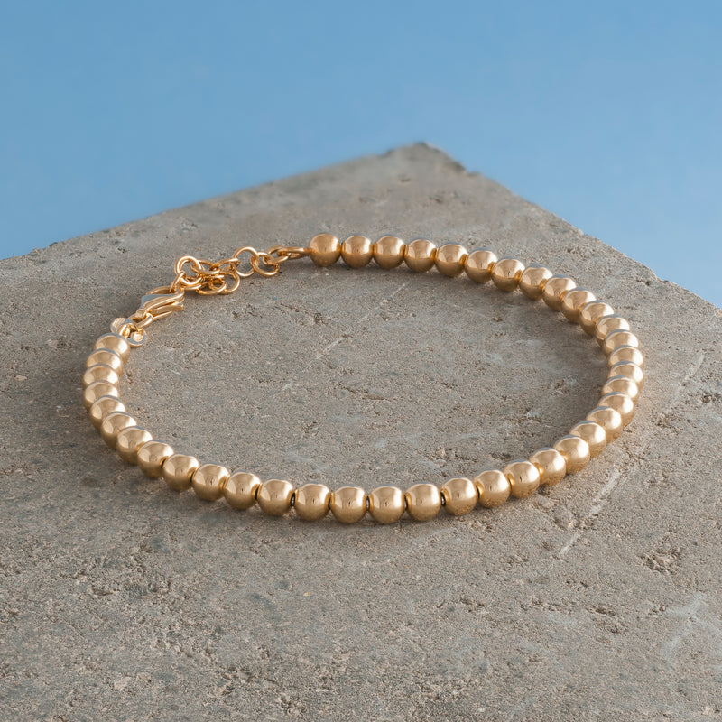 GOLD BEADED CHAIN BRACELET