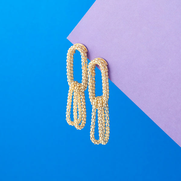 GOLD TEXTURED LINK CHAIN EARRINGS