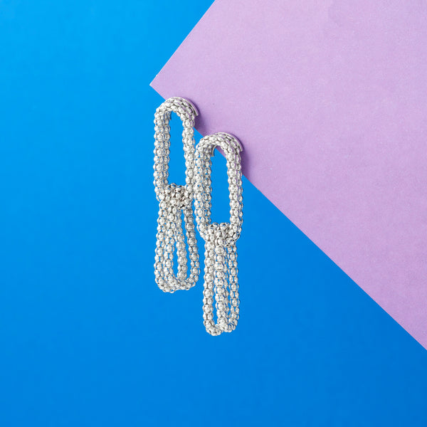 SILVER TEXTURED LINK CHAIN EARRINGS