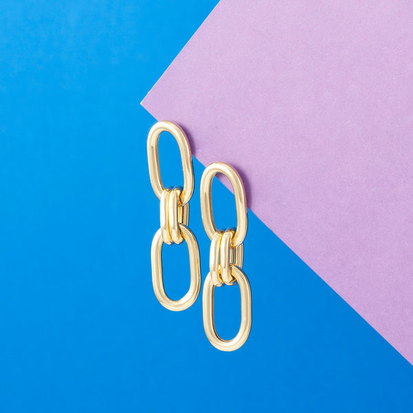 GOLD DOUBLE LINK CHAIN EARRINGS