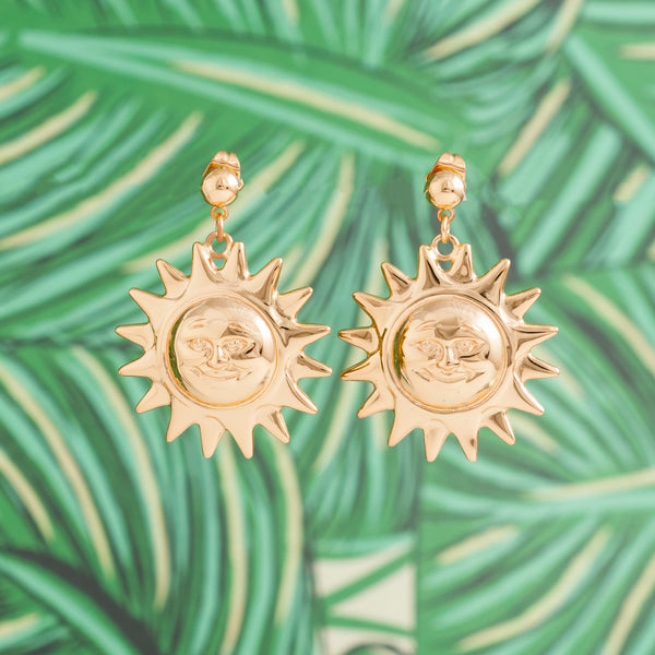 GOLD VINTAGE SUN EARRINGS
