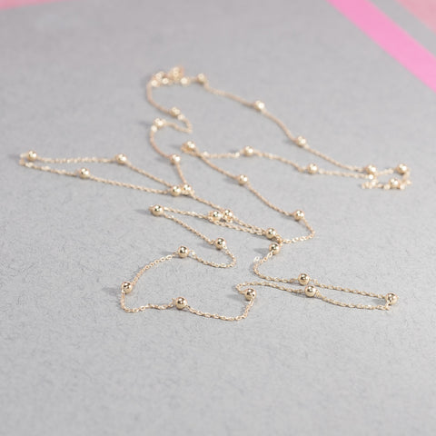 GOLD LONG BEADED CHAIN NECKLACE