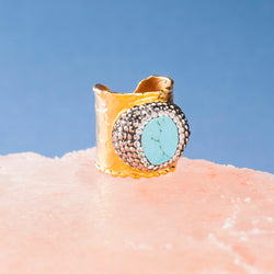 TURQUOISE AND CRYSTAL COCKTAIL RING