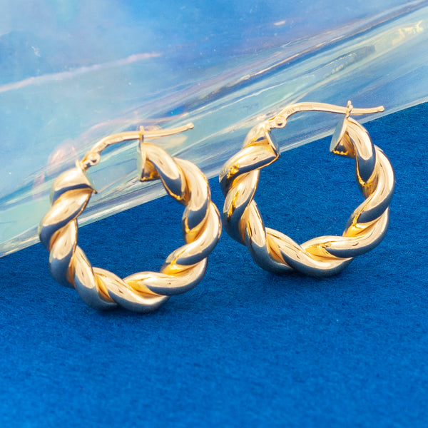 THICK GOLD SPIRAL HOOP EARRINGS