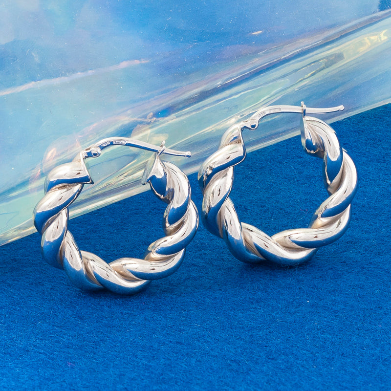 THICK SILVER SPIRAL HOOP EARRINGS