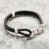 MEN'S BLACK LEATHER DOUBLE STRAND BRACELET